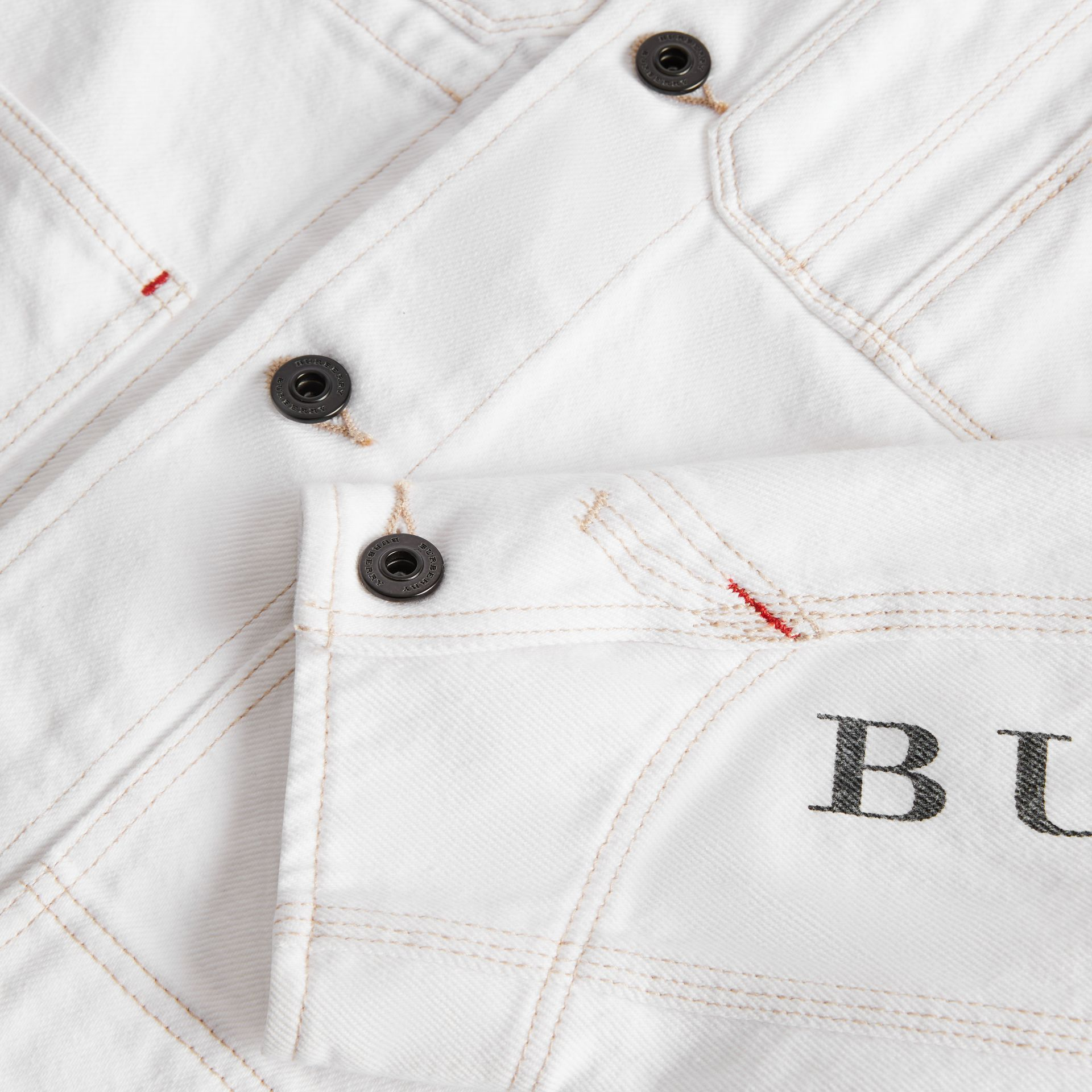 Topstitched Denim Jacket in Natural White | Burberry - gallery image 1