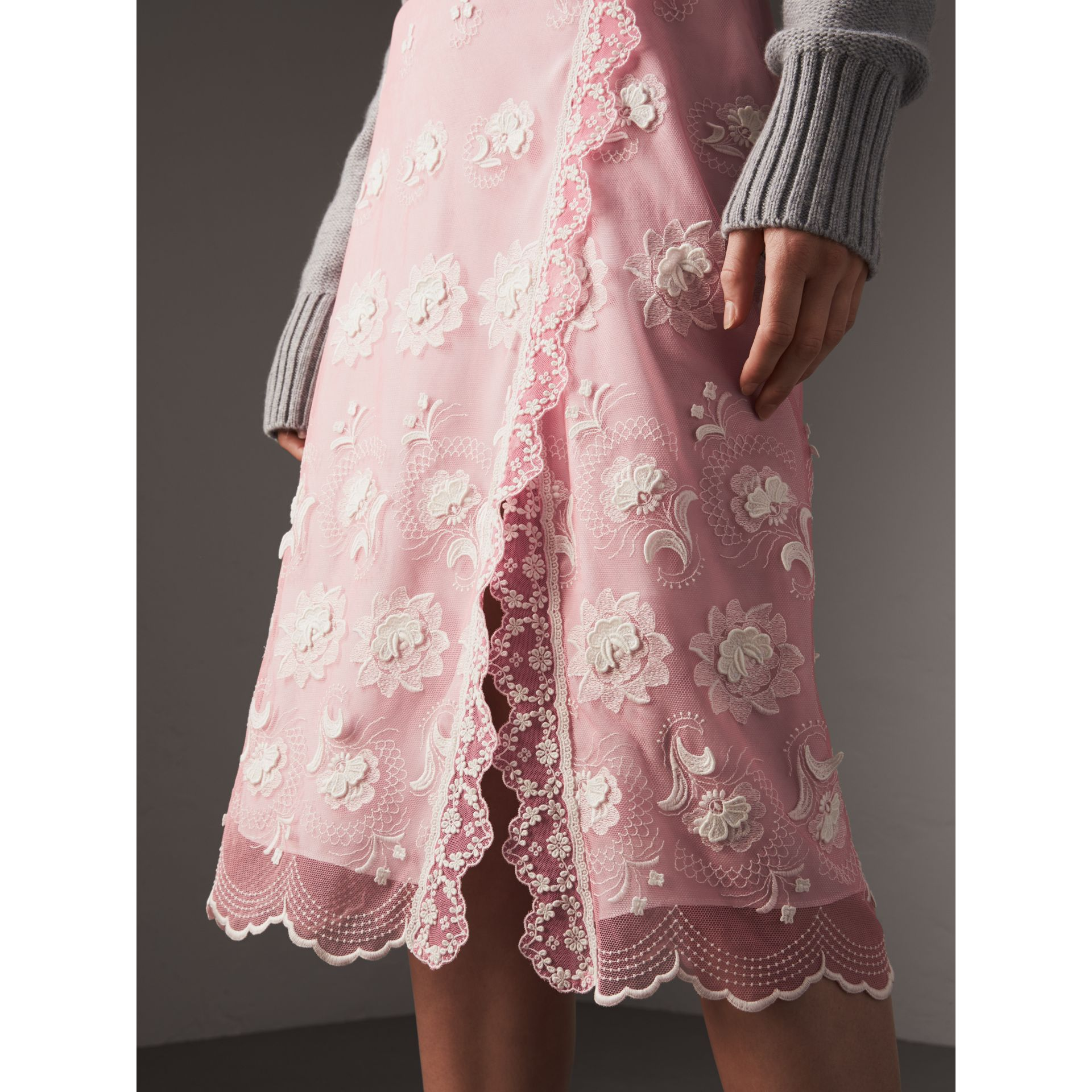 Chantilly Lace Trim Embroidered Tulle Skirt in Rose Pink/white - Women | Burberry - gallery image 1