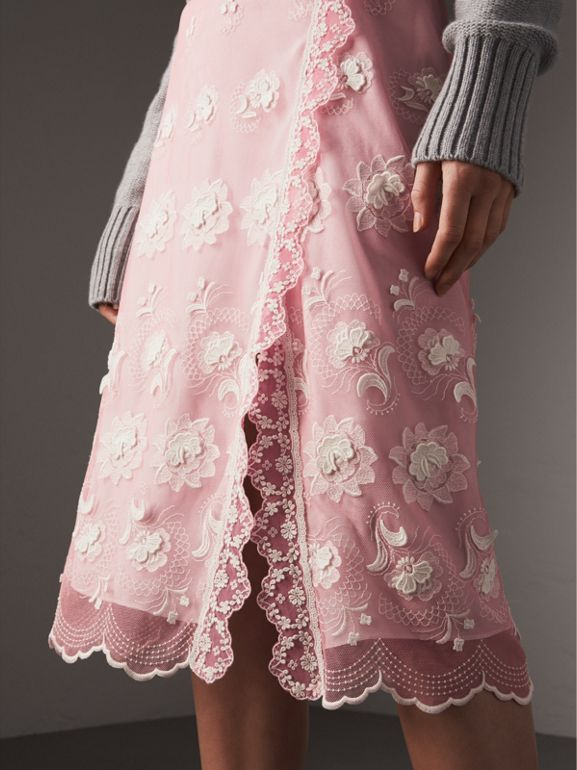 Chantilly Lace Trim Embroidered Tulle Skirt in Rose Pink/white - Women | Burberry - cell image 1