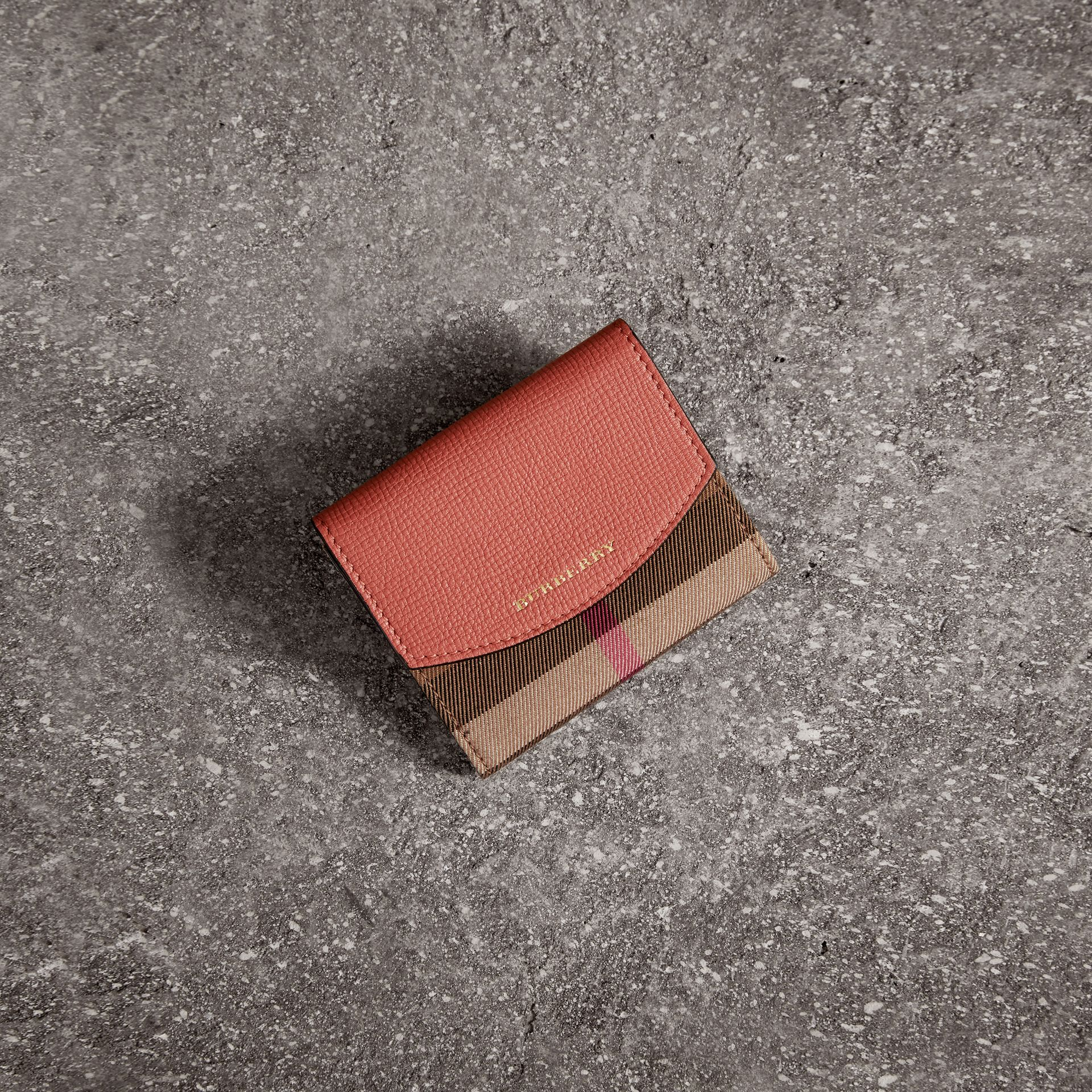 House Check and Leather Wallet in Cinnamon Red - Women | Burberry - gallery image 0