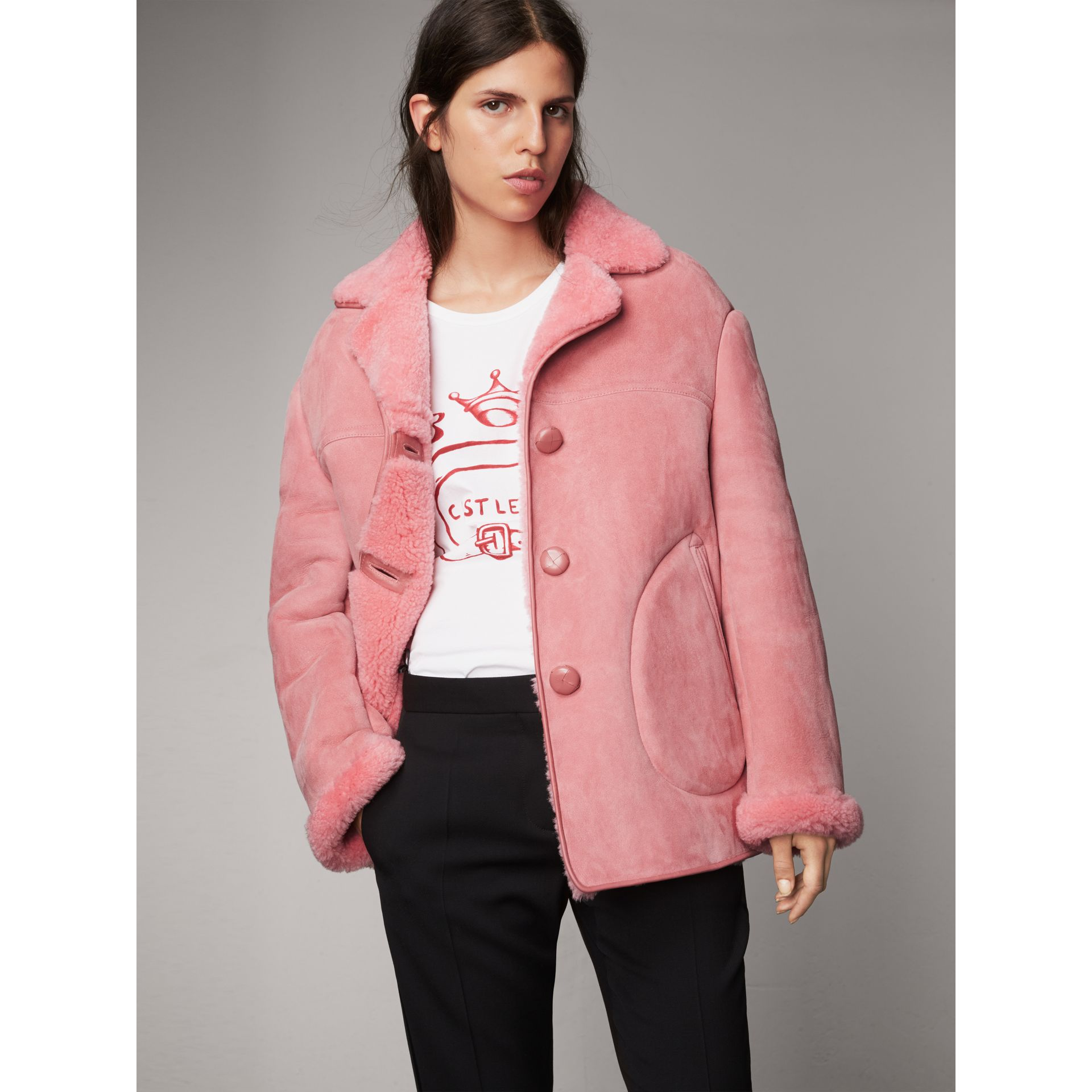 Leather Trim Shearling Oversized Jacket in Copper Pink - Women | Burberry - gallery image 4