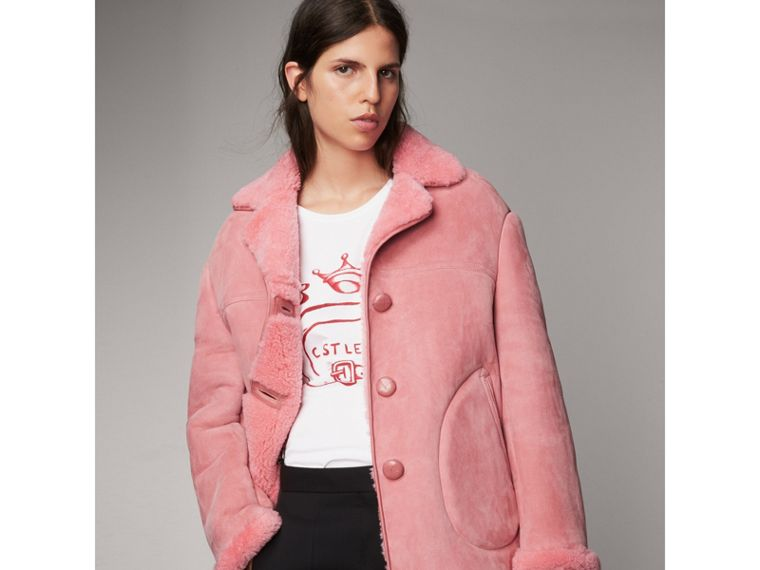 Leather Trim Shearling Oversized Jacket in Copper Pink - Women | Burberry United Kingdom - cell image 4