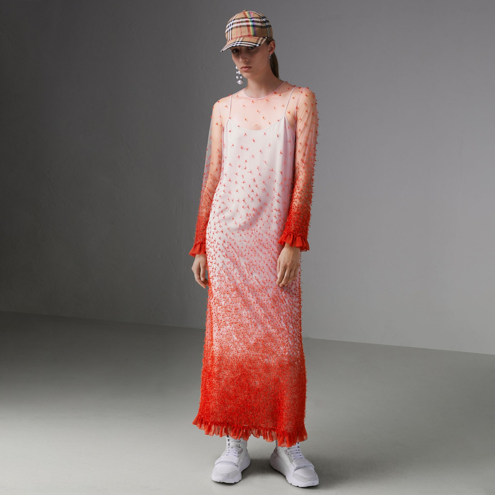Dégradé Hand-beaded Crepon Dress in Coral - Women | Burberry Singapore - gallery image 5
