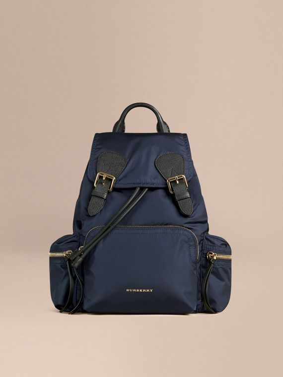 The Medium Rucksack in Technical Nylon and Leather in Ink Blue - Women | Burberry Singapore