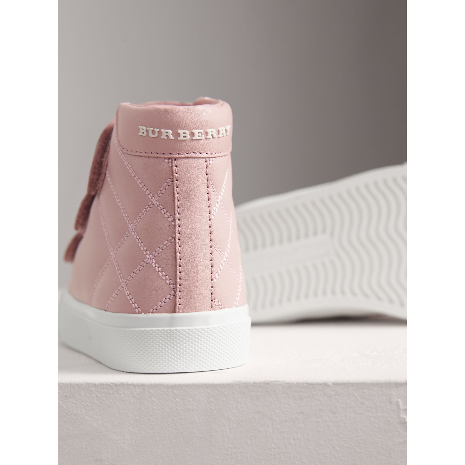Check-quilted Leather High-top Sneakers in Light Pink Melange | Burberry - gallery image 1
