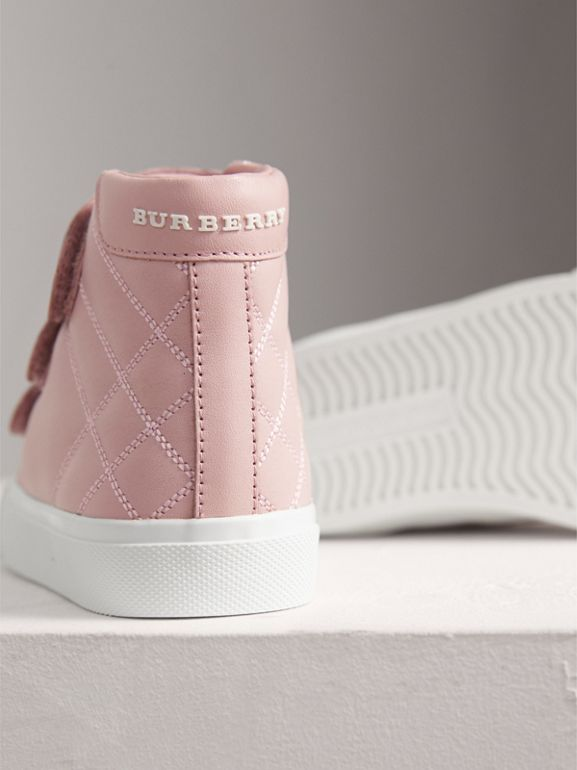 Check-quilted Leather High-top Sneakers in Light Pink Melange - Children | Burberry - cell image 1