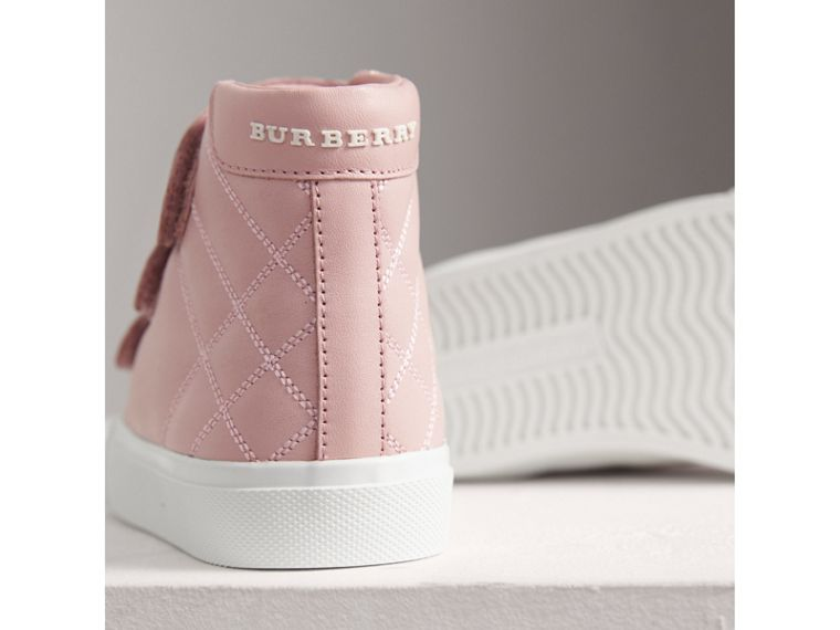 Check-quilted Leather High-top Sneakers in Light Pink Melange | Burberry - cell image 1