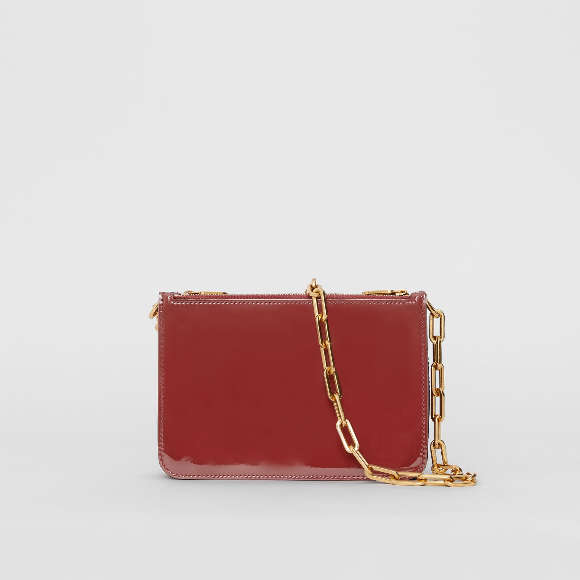 Triple Zip Patent Leather Crossbody Bag in Crimson - Women | Burberry - gallery image 7