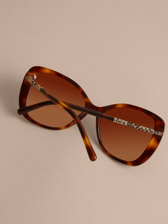 Check Detail Butterfly Frame Sunglasses Tortoiseshell - cell image 3