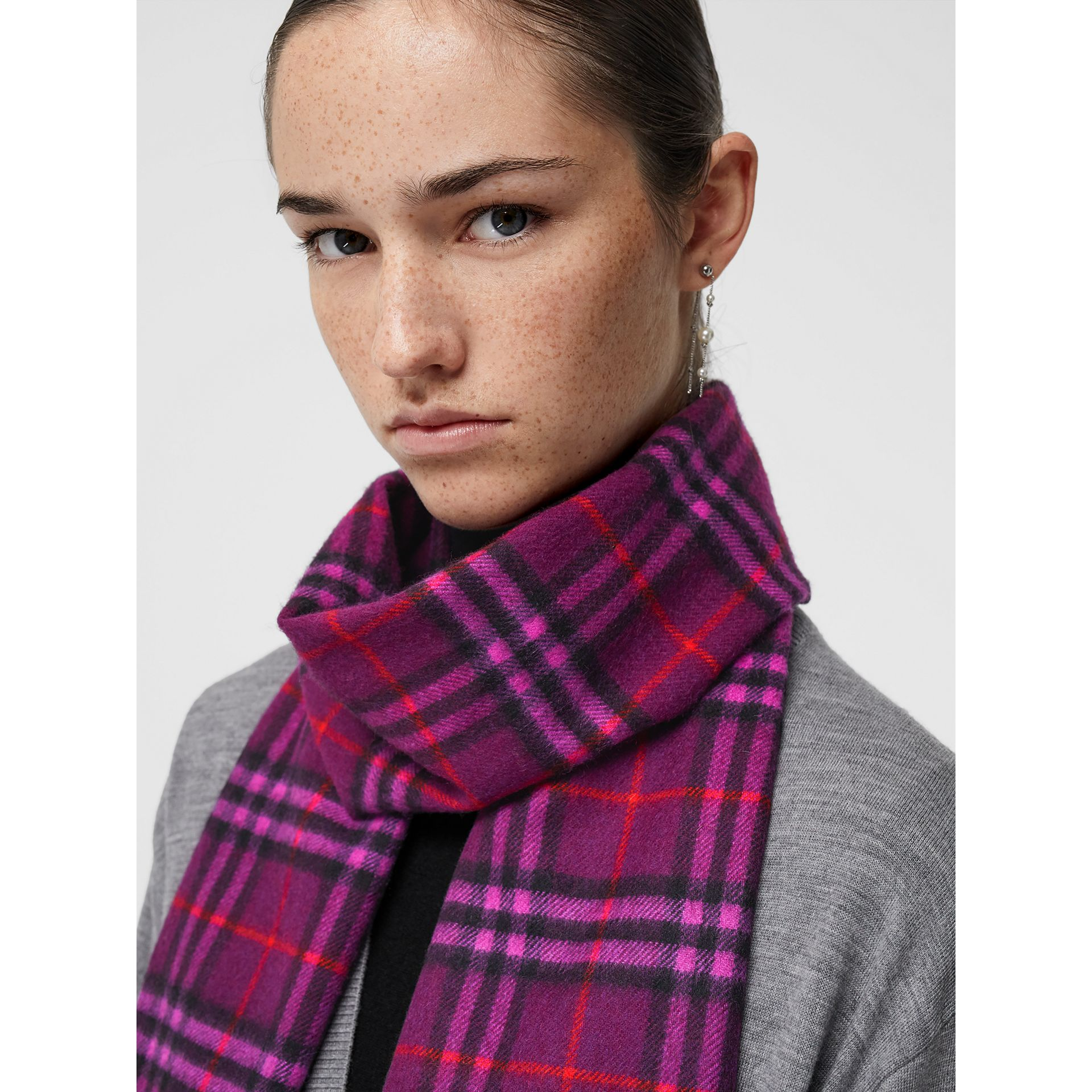 The Classic Vintage Check Cashmere Scarf in Dark Violet | Burberry United Kingdom - gallery image 5