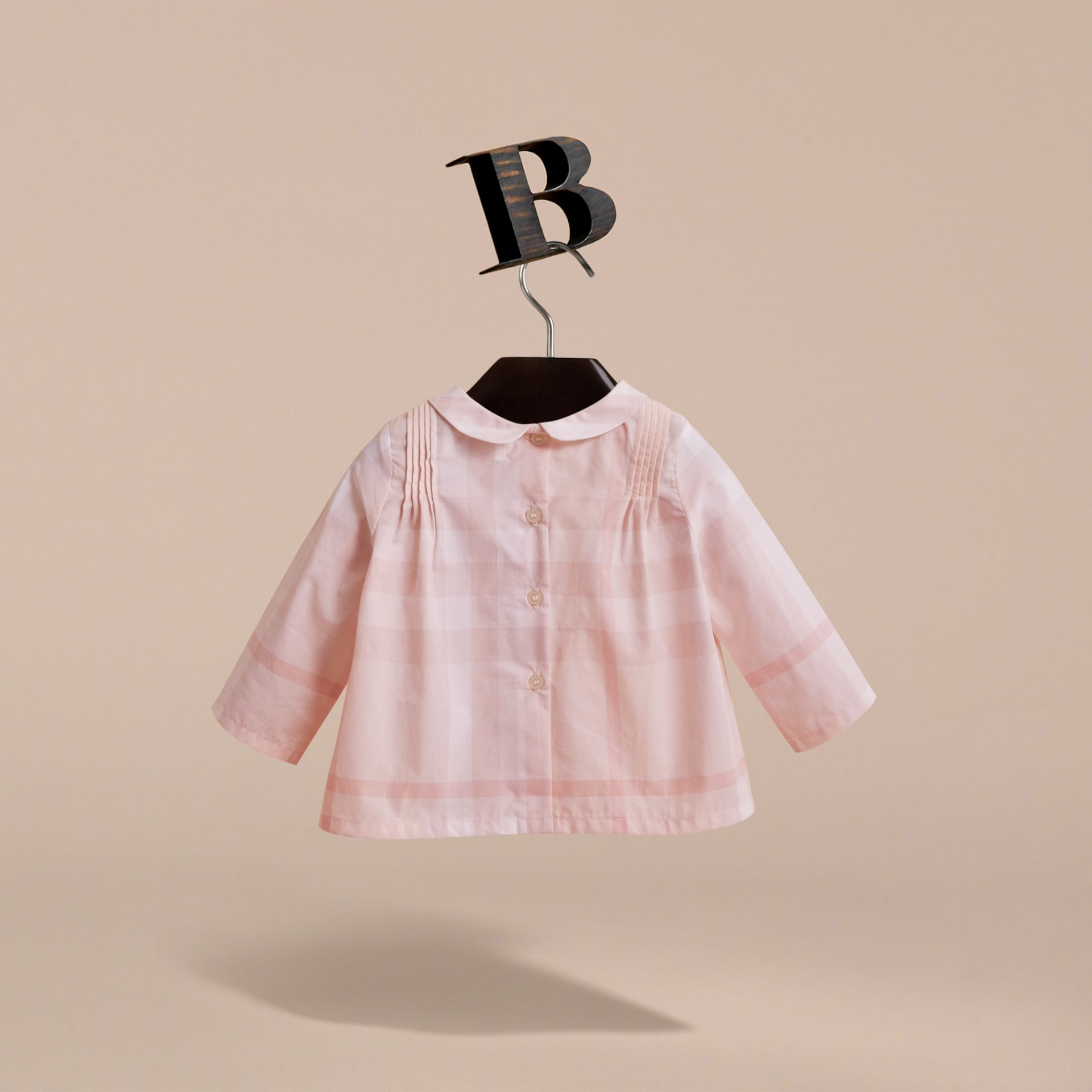 Peter Pan Collar Pintuck Detail Check Cotton Top in Ice Pink | Burberry - gallery image 4
