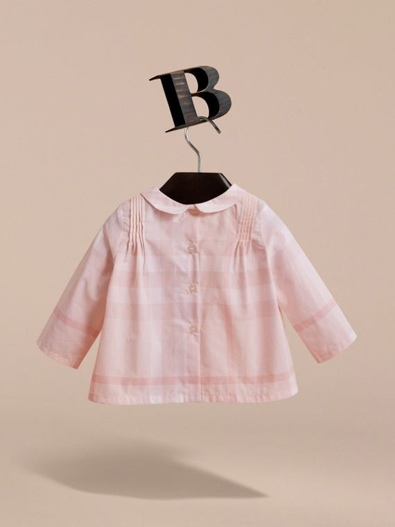 Peter Pan Collar Pintuck Detail Check Cotton Top in Ice Pink | Burberry - cell image 3