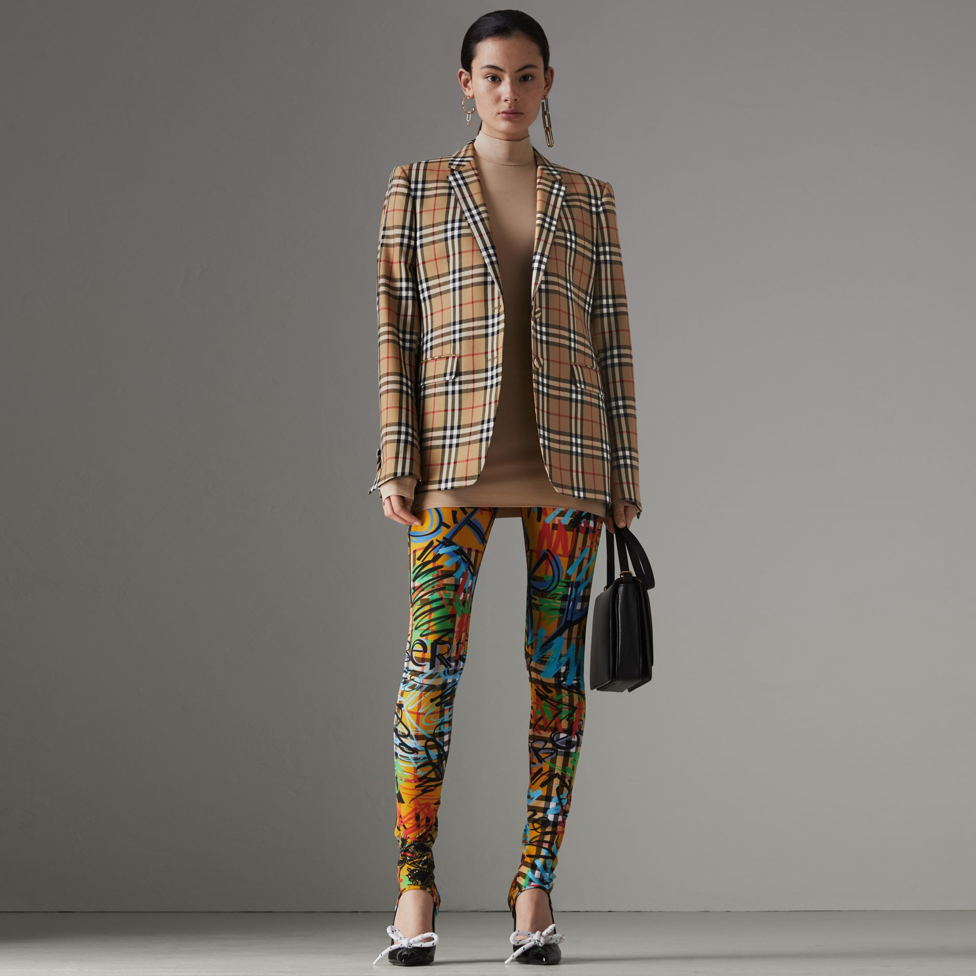 Vintage Check Wool Tailored Jacket in Antique Yellow - Women | Burberry - gallery image 0