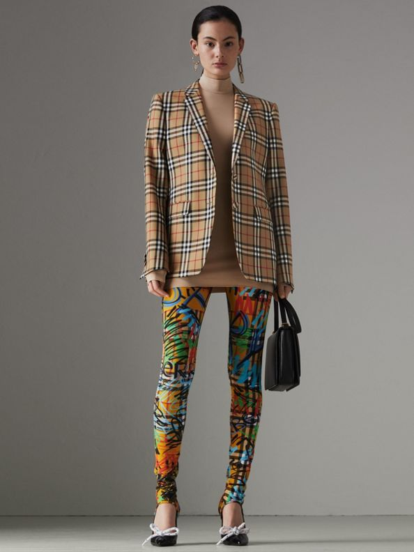 Vintage Check Wool Tailored Jacket in Antique Yellow