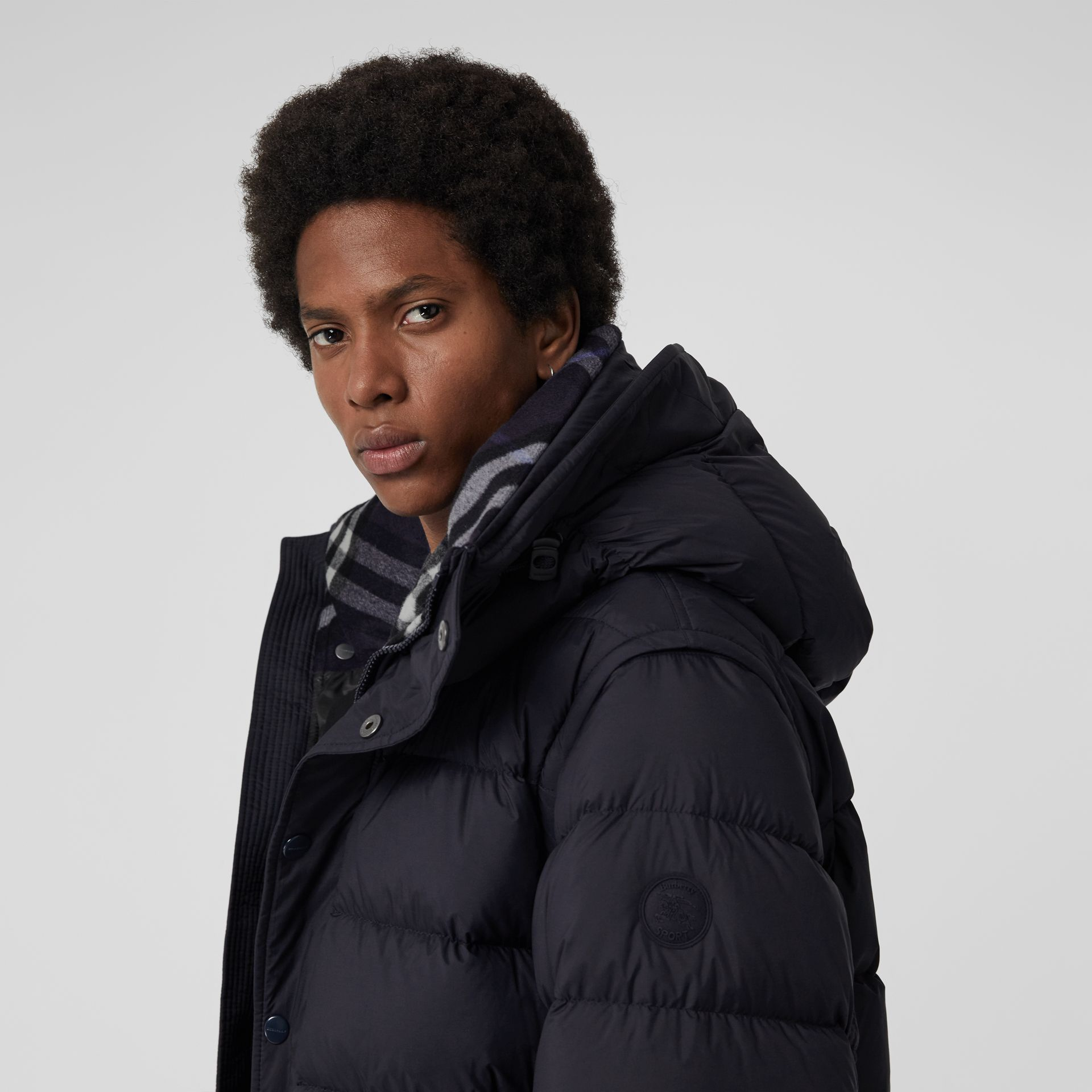 Detachable-sleeve Down-filled Hooded Puffer Jacket in Navy - Men | Burberry Australia - gallery image 1