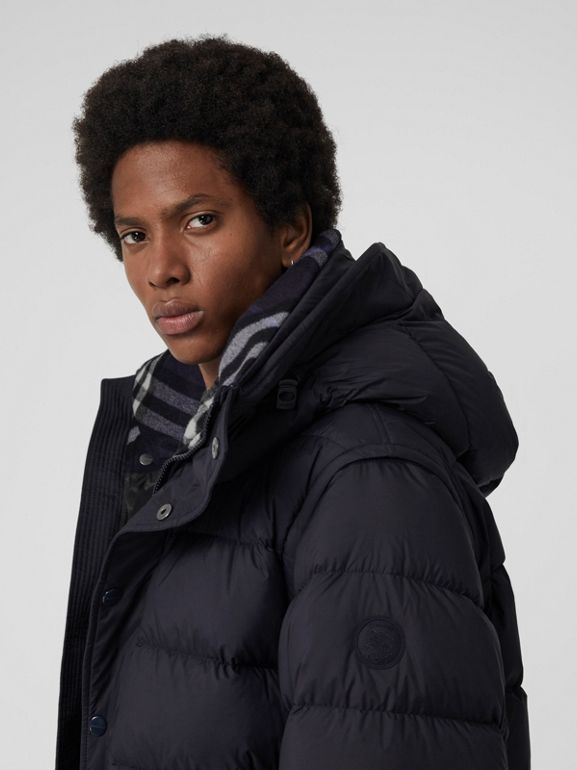Detachable-sleeve Down-filled Hooded Puffer Jacket in Navy - Men | Burberry United Kingdom - cell image 1