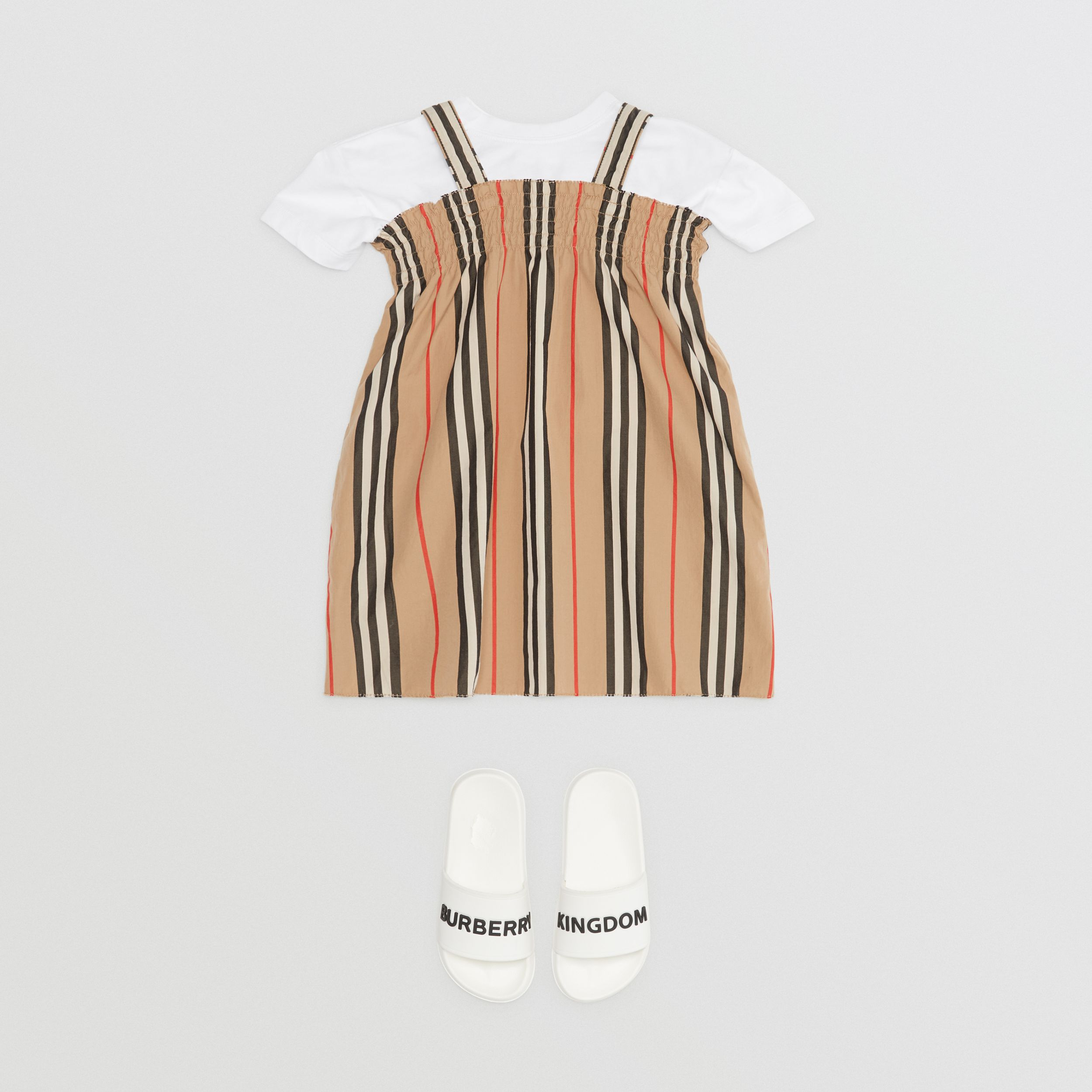 Smocked Icon Stripe Cotton Dress in Archive Beige - Children | Burberry United States - 3