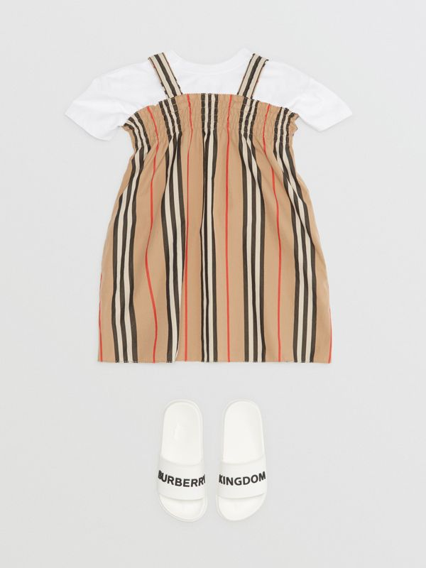 Smocked Icon Stripe Cotton Dress in Archive Beige - Children | Burberry - cell image 2