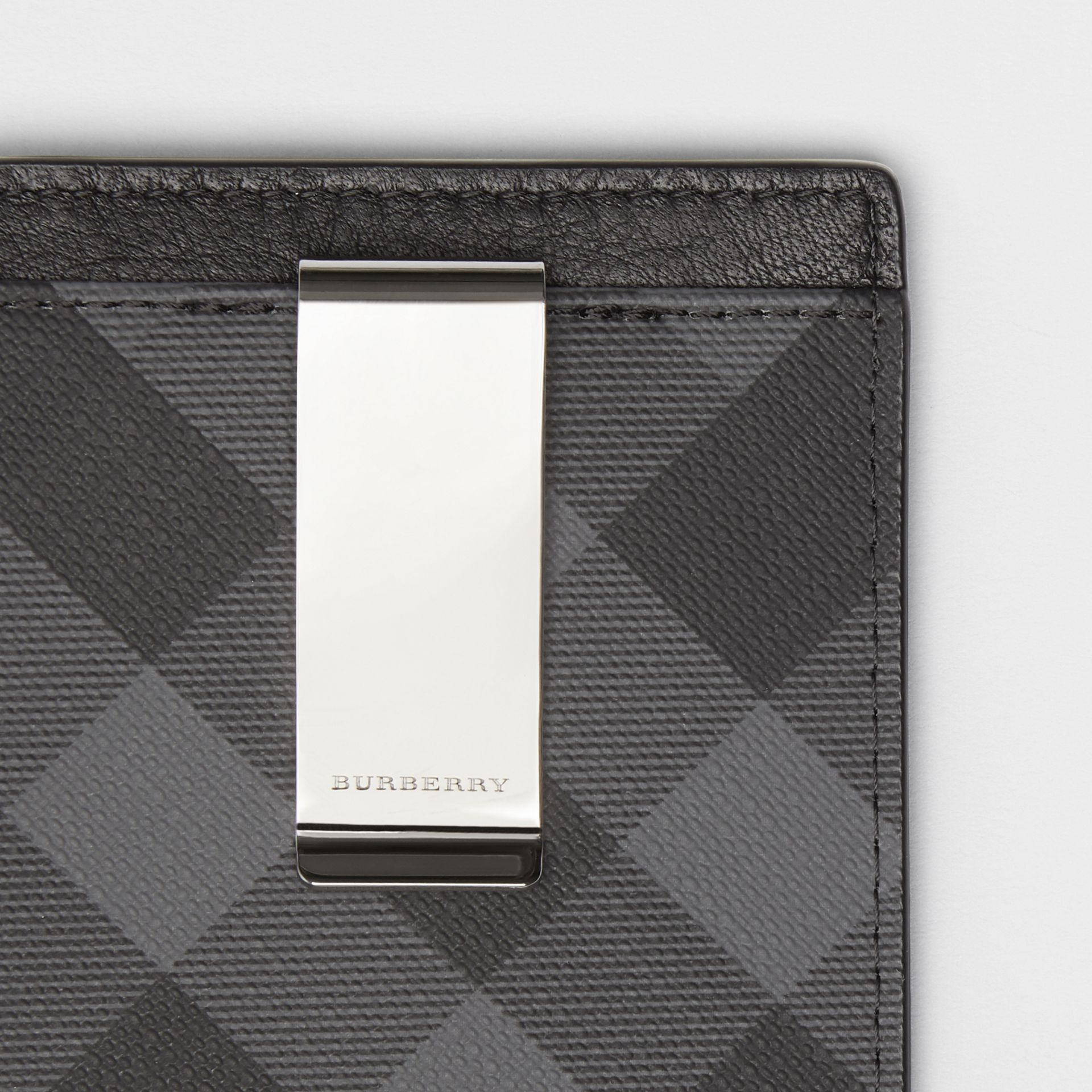 London Check and Leather Money Clip Card Case in Charcoal/black - Men | Burberry Australia - gallery image 1