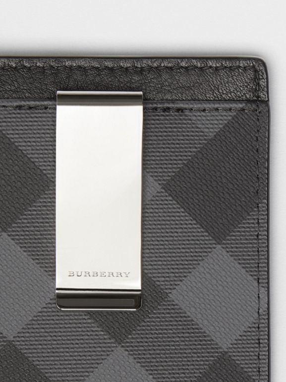 London Check and Leather Money Clip Card Case in Charcoal/black - Men | Burberry - cell image 1