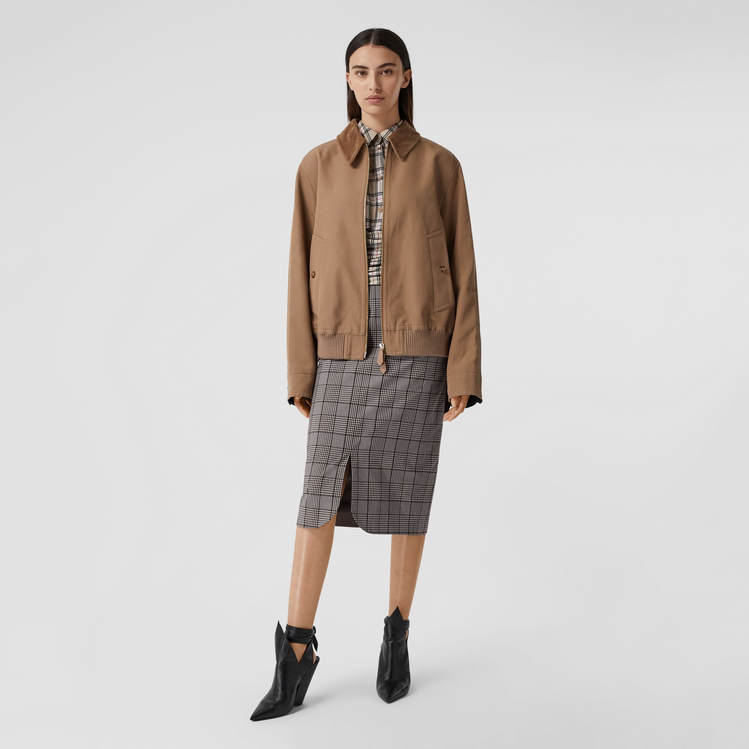 Check Wool Pencil Skirt in Deep Taupe - Women | Burberry - 1