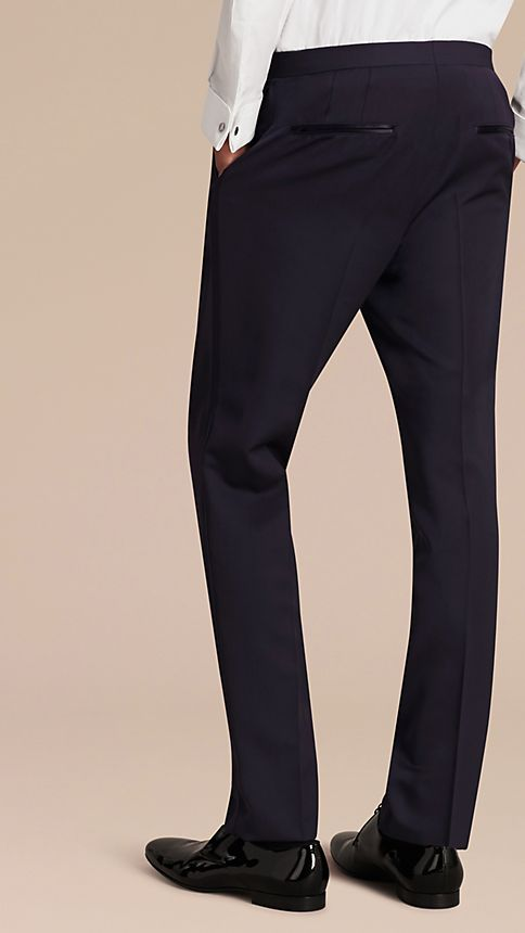 Navy Virgin Wool Tuxedo Trousers Navy - Image 3