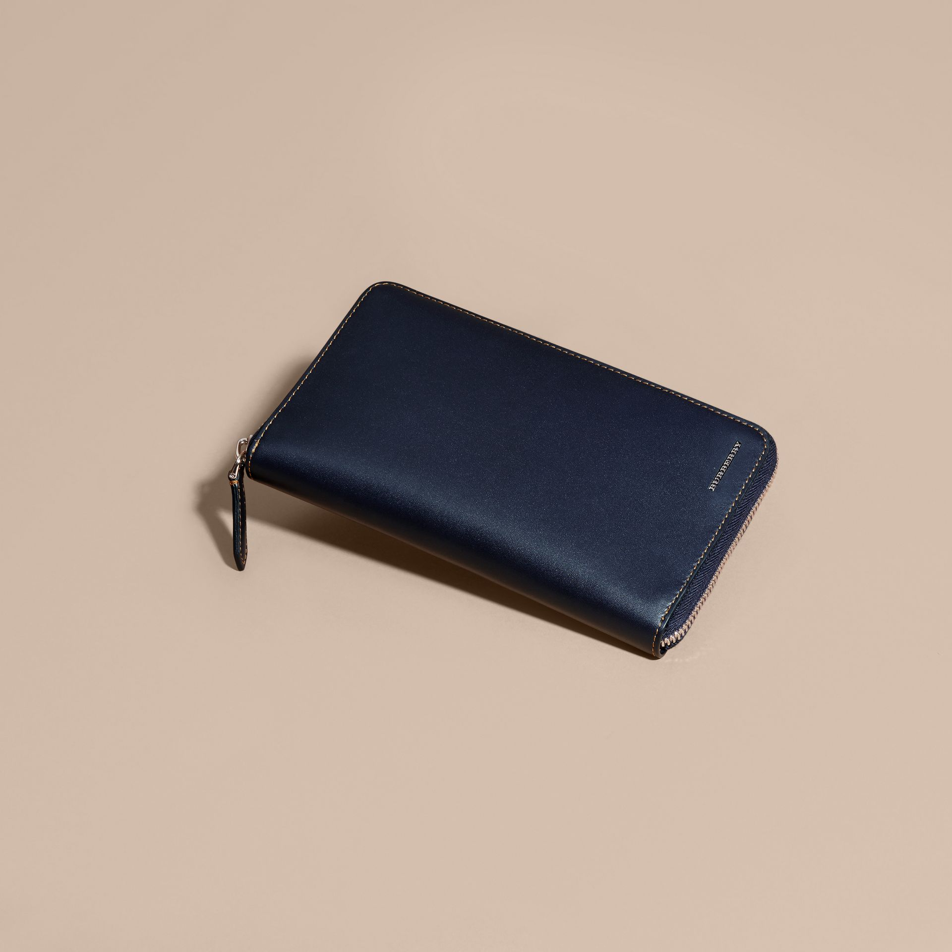 Dark navy Smooth Leather Ziparound Wallet Dark Navy - gallery image 3