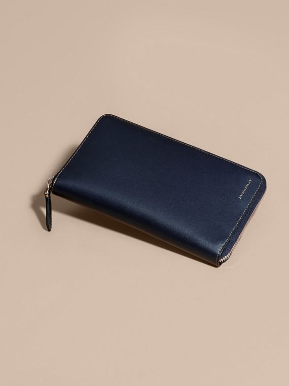 Dark navy Smooth Leather Ziparound Wallet Dark Navy - cell image 2
