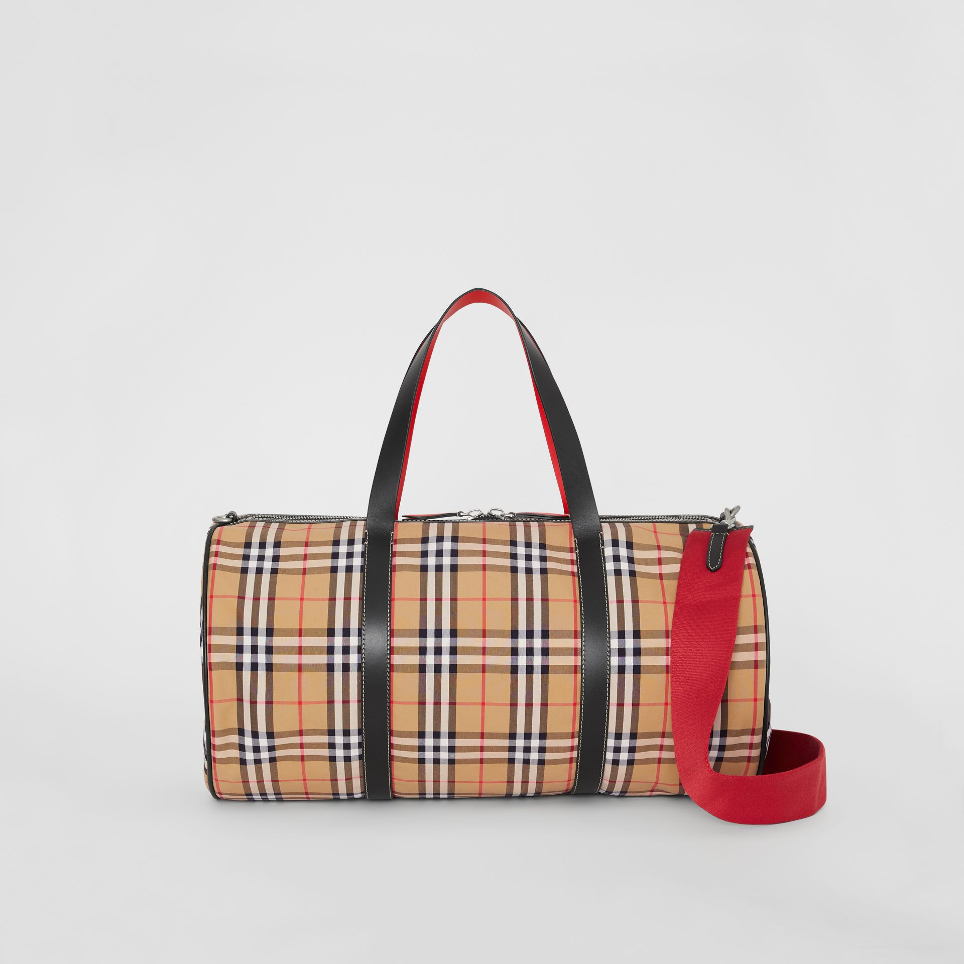 Large Vintage Check and Leather Barrel Bag in Military Red - Men | Burberry Canada - gallery image 0