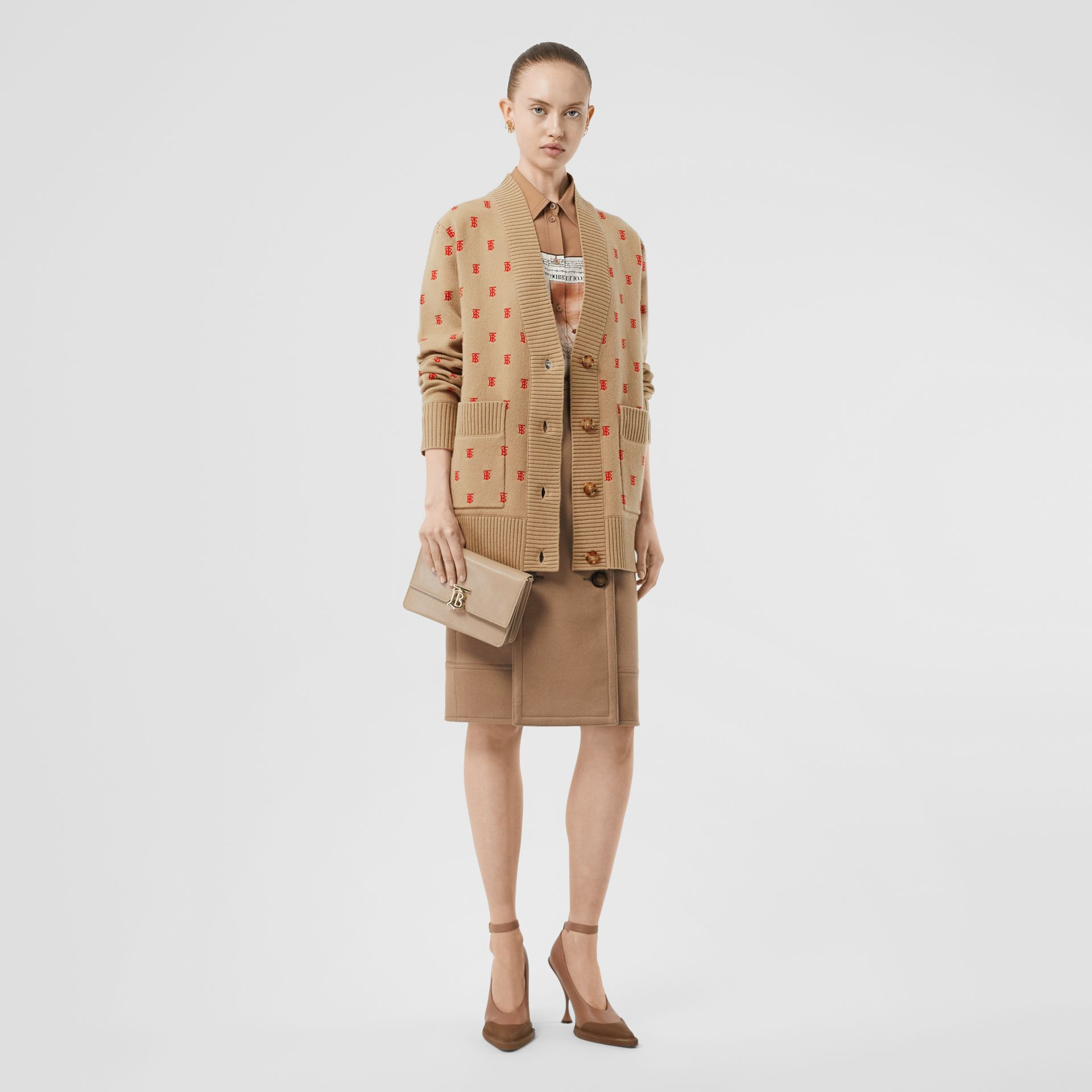 Monogram Wool Cashmere Blend Oversized Cardigan in Archive Beige - Women | Burberry United States - gallery image 6