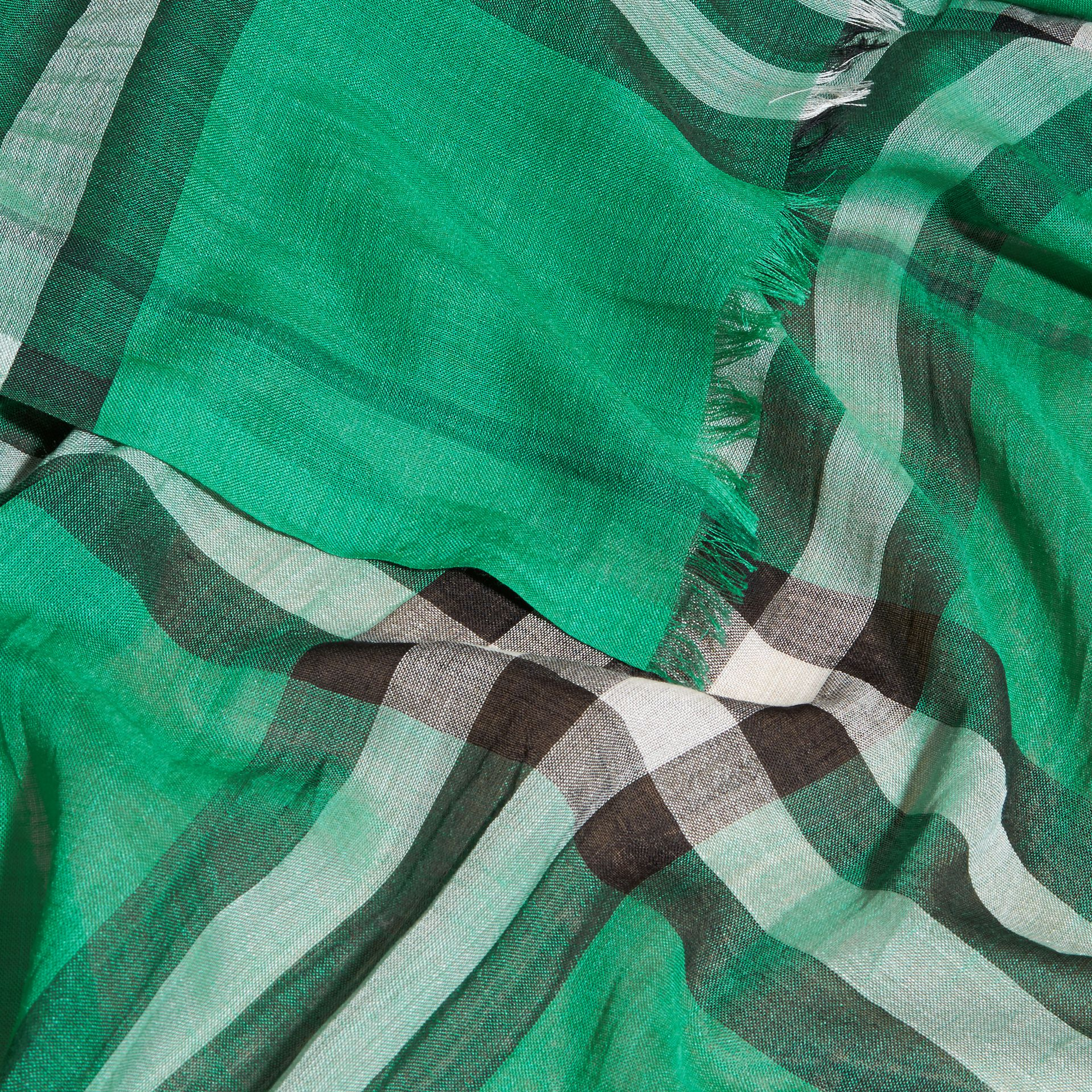 Lightweight Check Wool and Silk Scarf in Emerald - gallery image 2