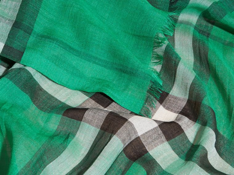Lightweight Check Wool and Silk Scarf in Emerald - cell image 1