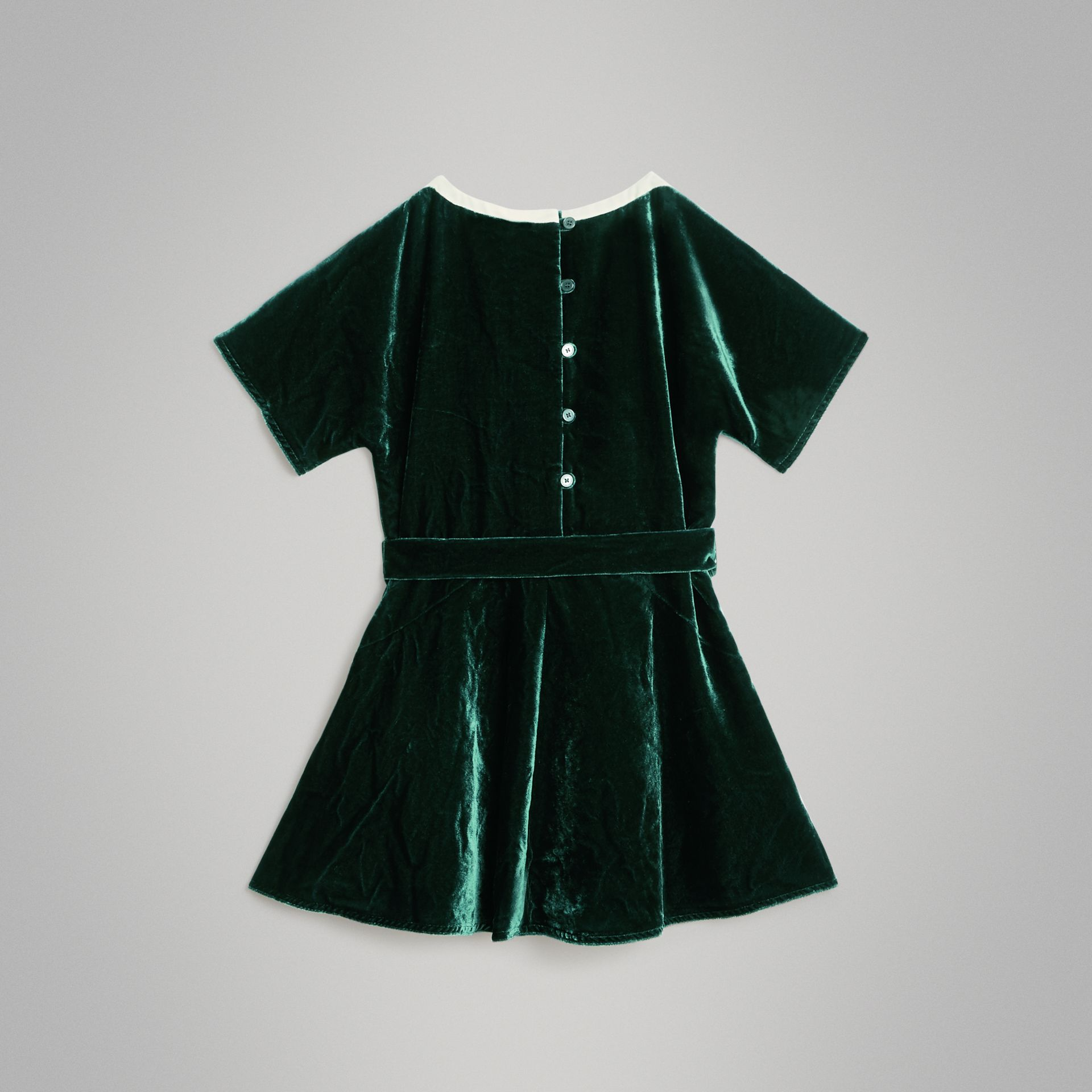Stripe Detail Velvet Dress in Dark Forest Green | Burberry Canada - gallery image 3