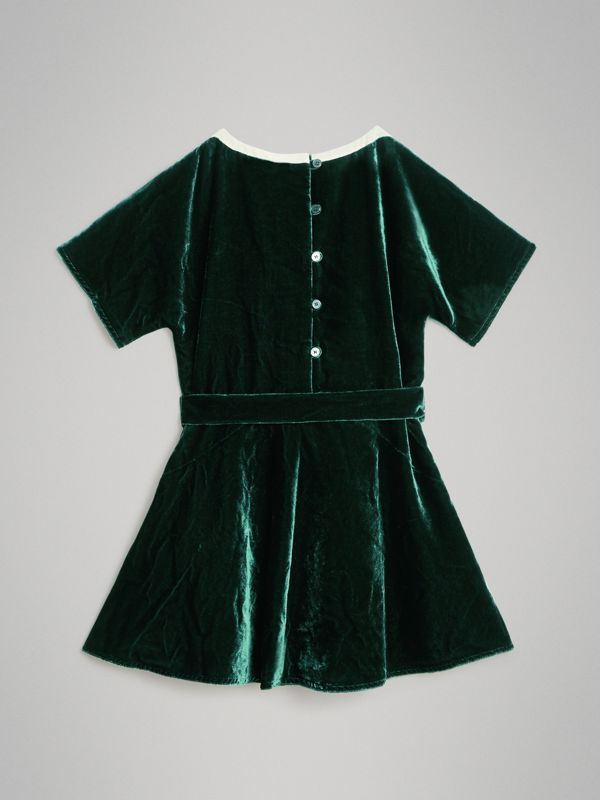 Stripe Detail Velvet Dress in Dark Forest Green | Burberry - cell image 3