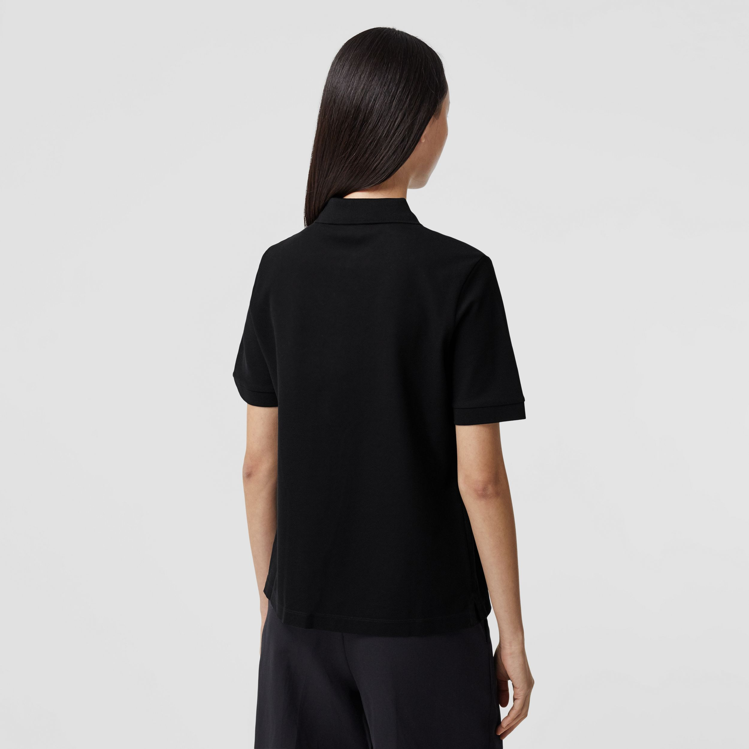 Monogram Motif Cotton Piqué Polo Shirt in Black - Women | Burberry - 3