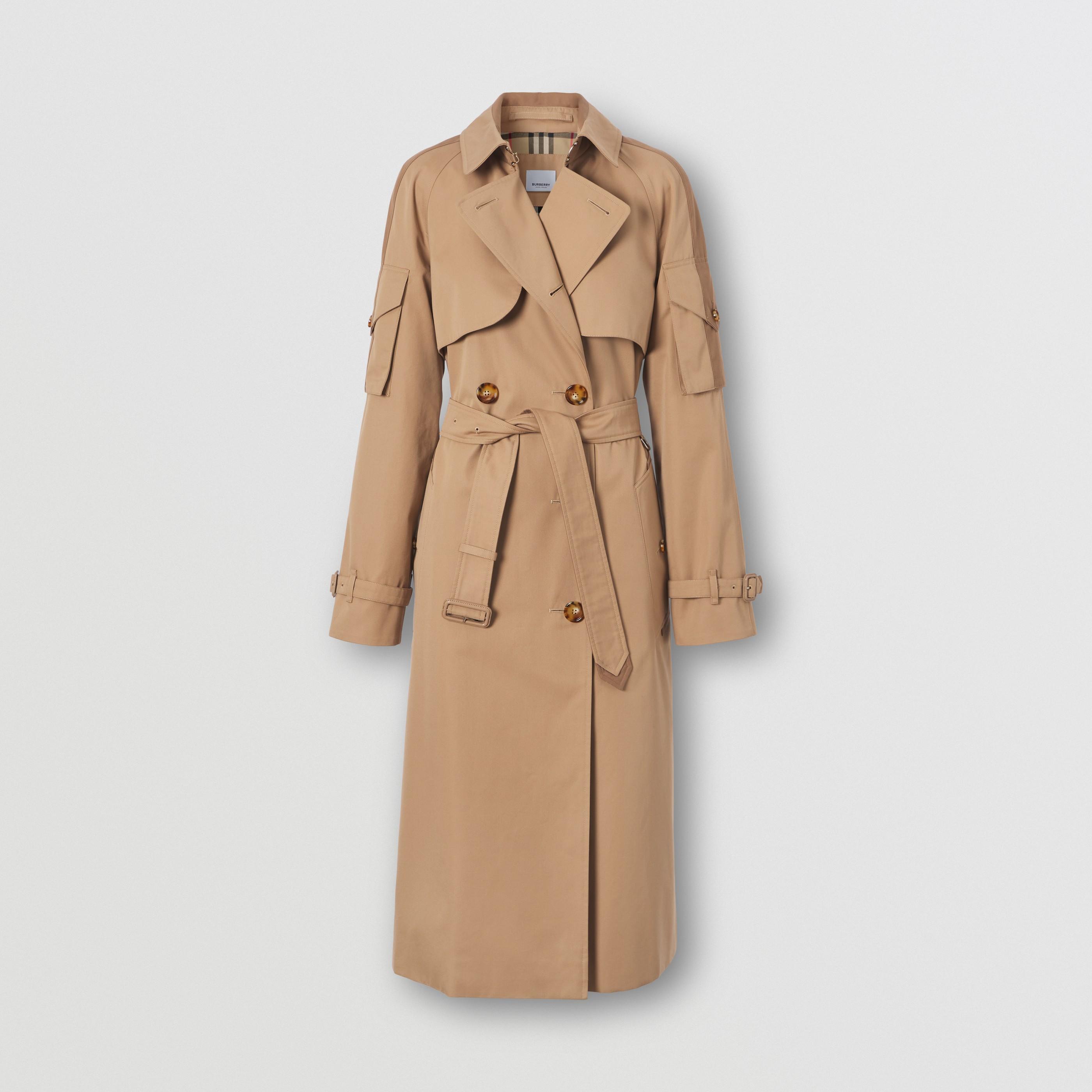 Trench coat in gabardine di cotone con tasche oversize (Cammello) - Donna   Burberry - 4