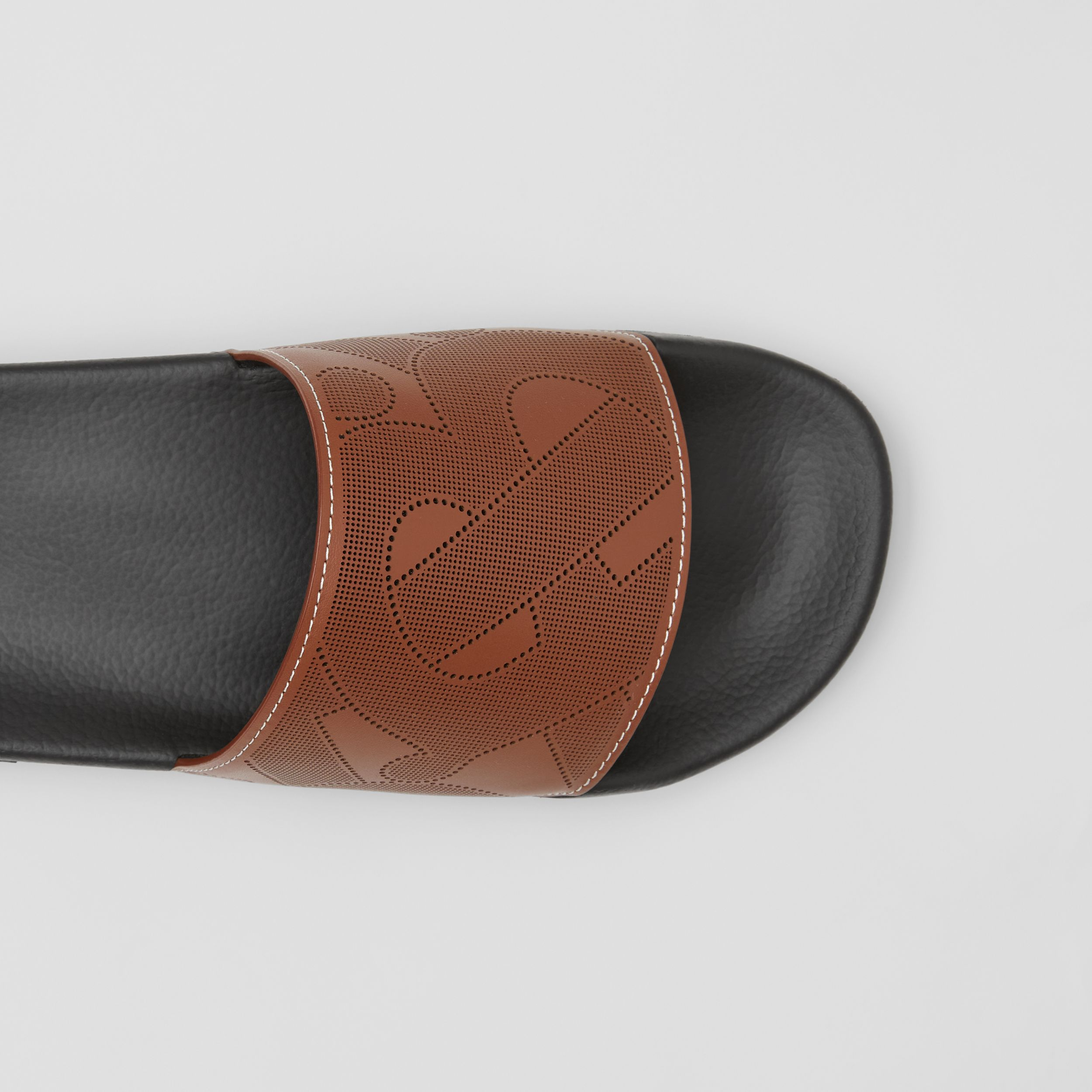 Perforated Monogram Leather Slides in Tan - Men | Burberry - 2