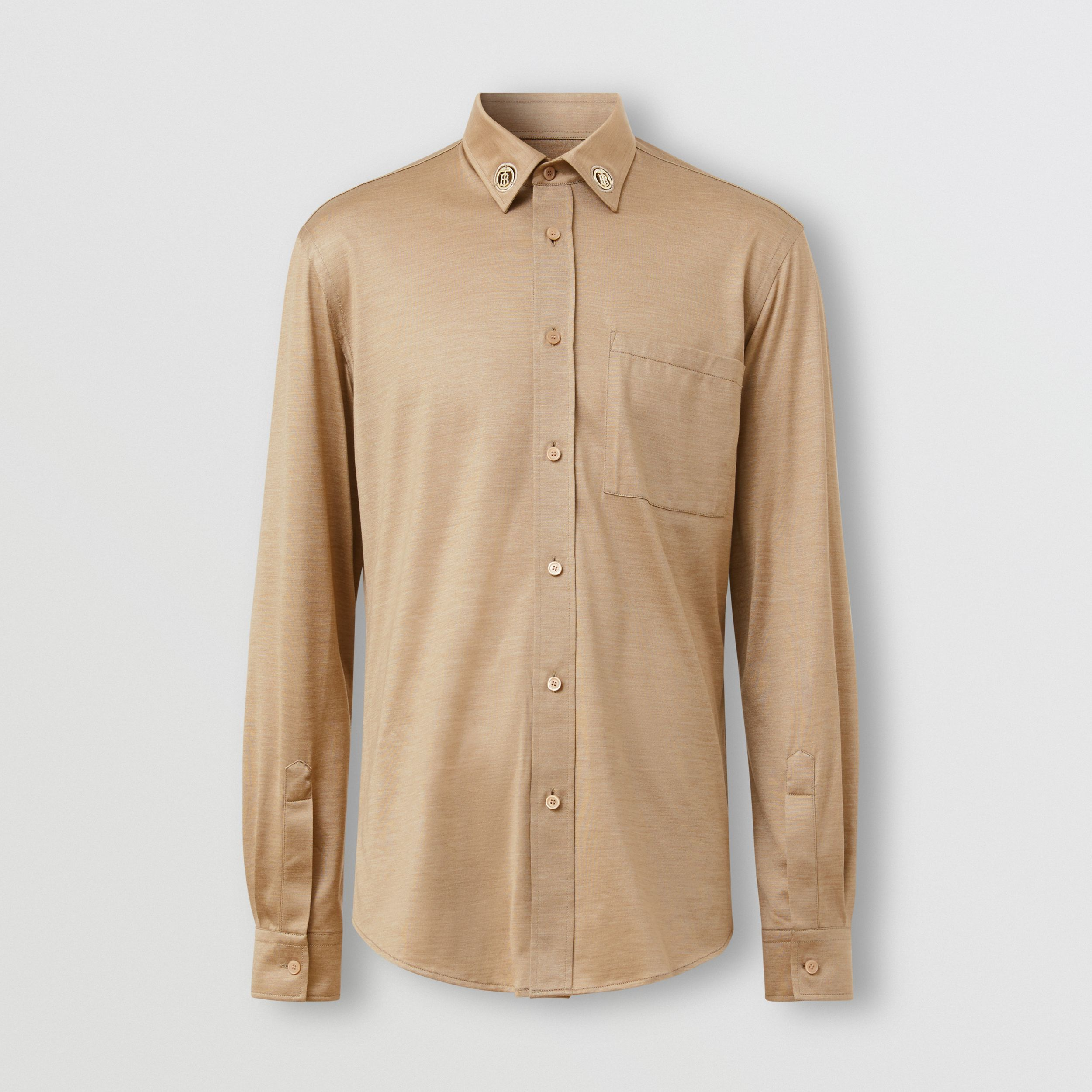 Classic Fit Monogram Motif Silk Jersey Shirt in Soft Fawn - Men | Burberry - 4
