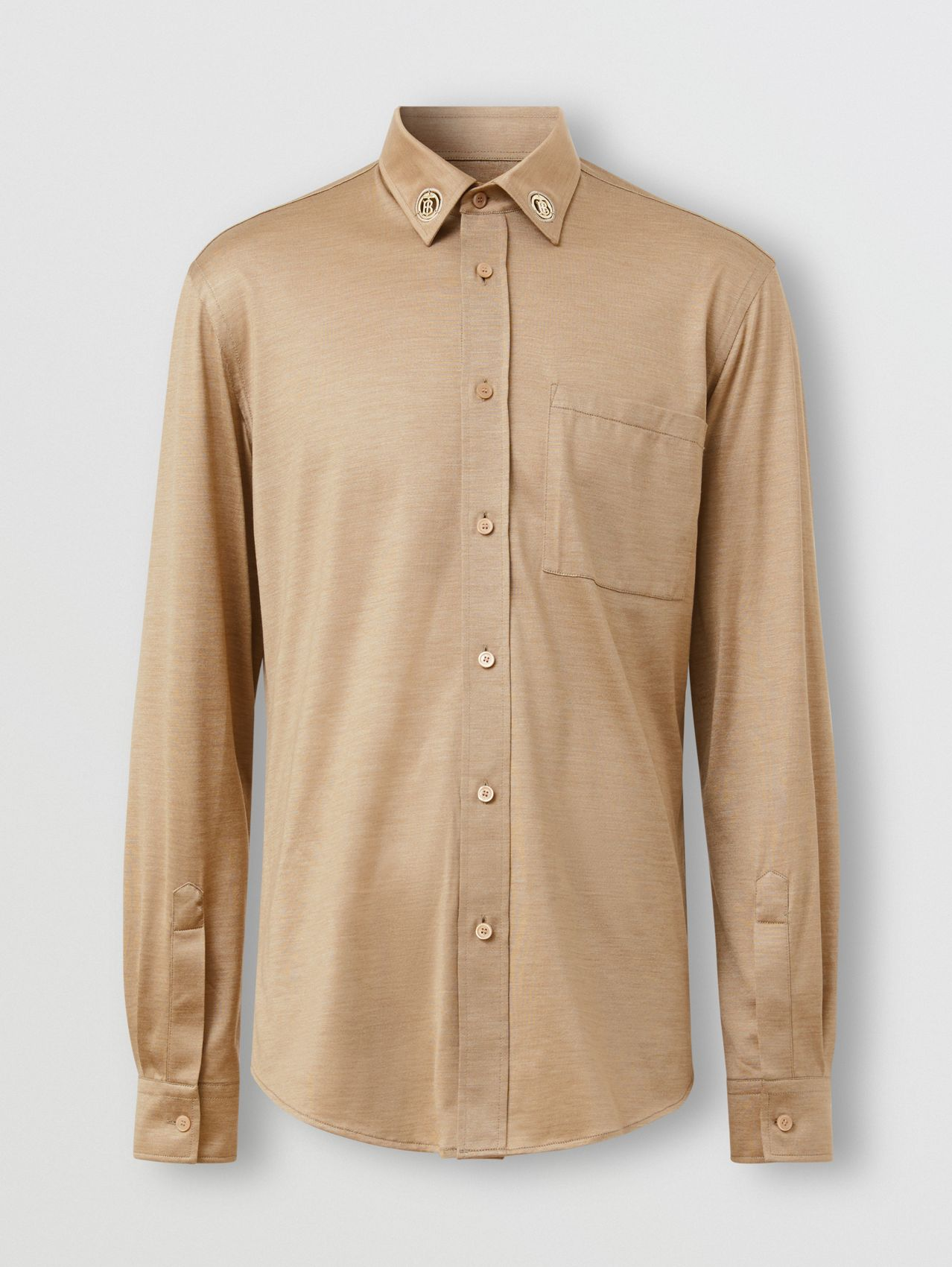 Classic Fit Monogram Motif Silk Jersey Shirt in Soft Fawn