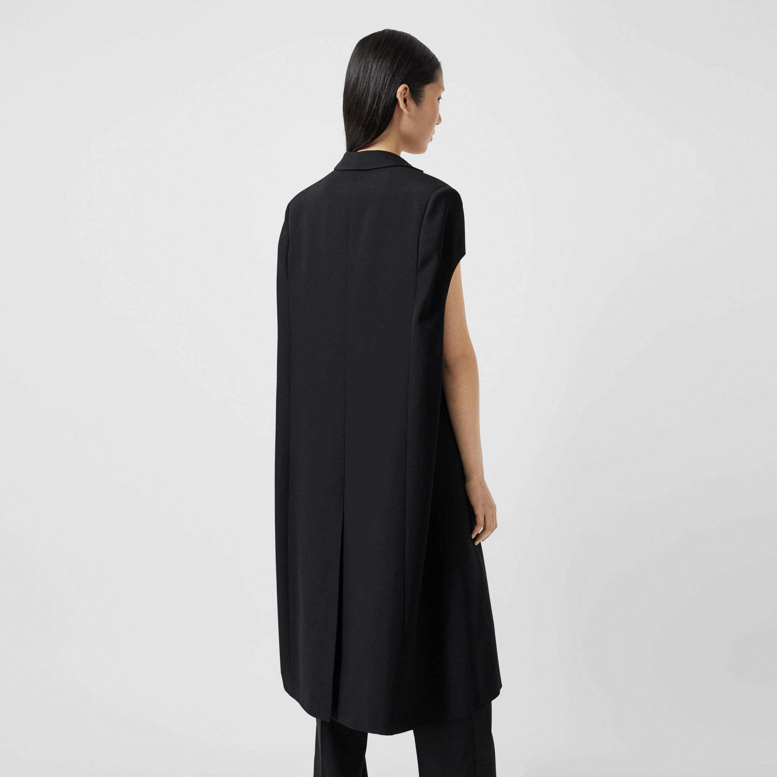 Grain De Poudre Wool Tailored Cape in Black - Women | Burberry Australia - 3