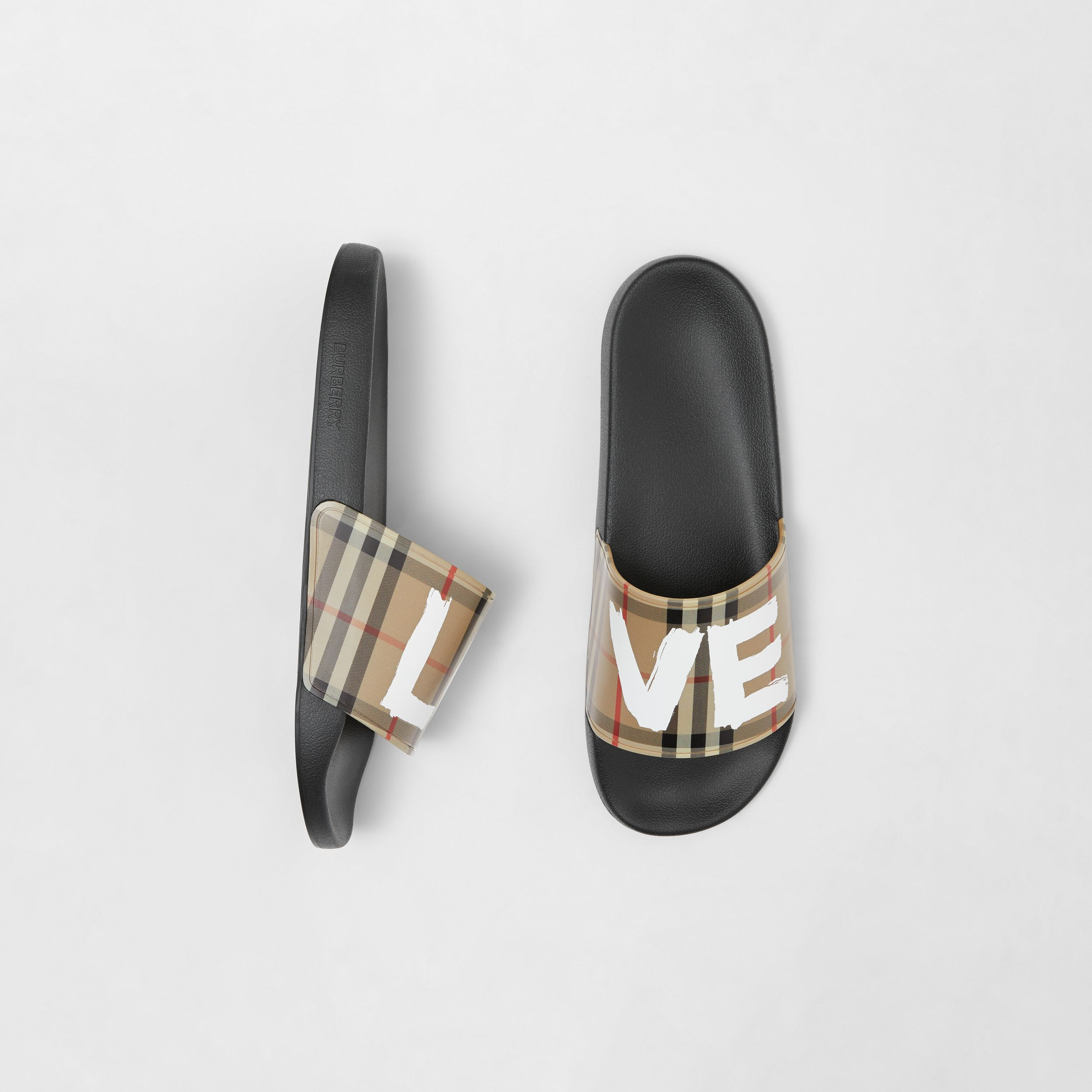Love Print Vintage Check Slides in Archive Beige - Men | Burberry - 1