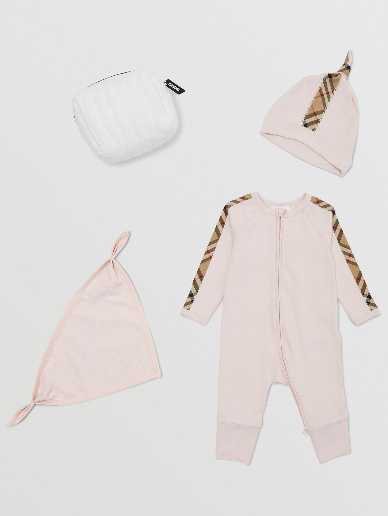Check Trim Cotton Three-piece Baby Gift Set in Ice Pink