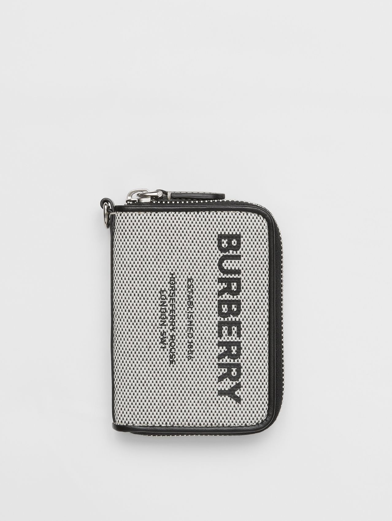Horseferry Print Cotton Canvas Card Case Lanyard in Black