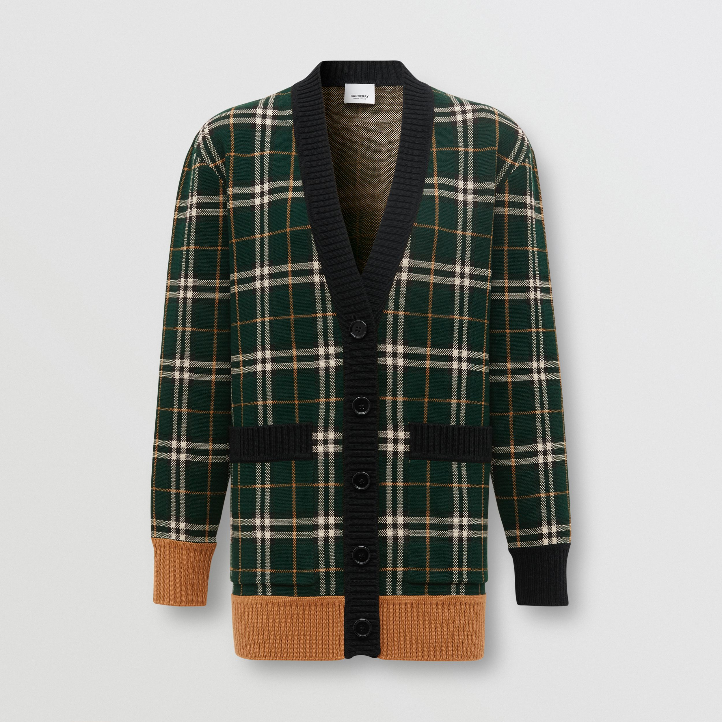Check Technical Merino Wool Jacquard Cardigan in Bottle Green - Women | Burberry - 4