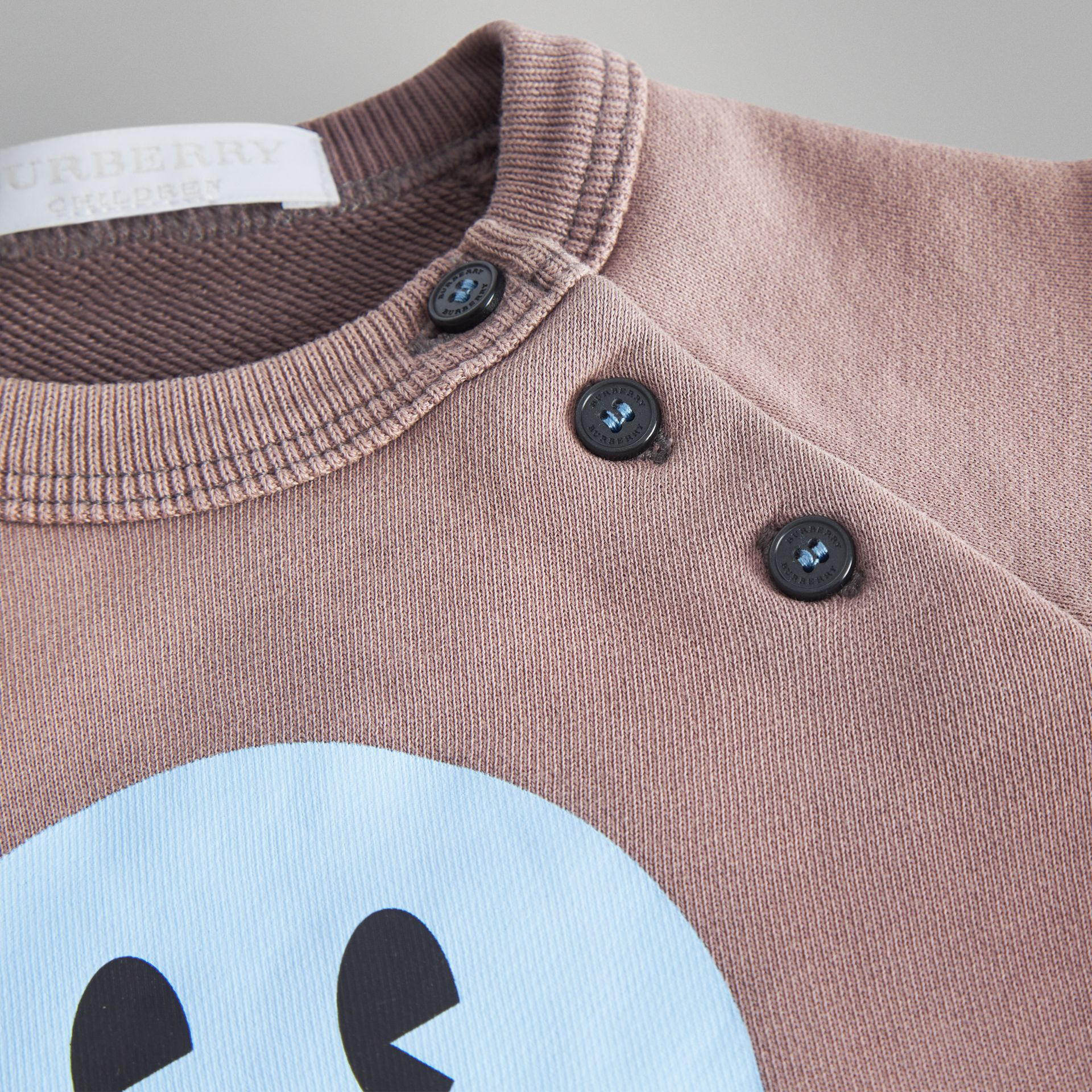 Smiley Face Print Cotton Sweatshirt in Mauve - Children | Burberry - gallery image 1