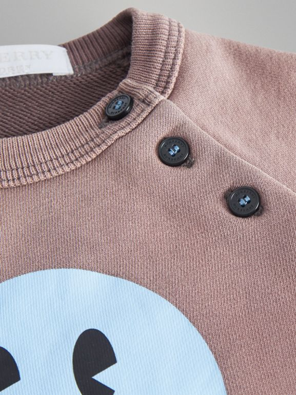 Smiley Face Print Cotton Sweatshirt in Mauve - Children | Burberry United Kingdom - cell image 1