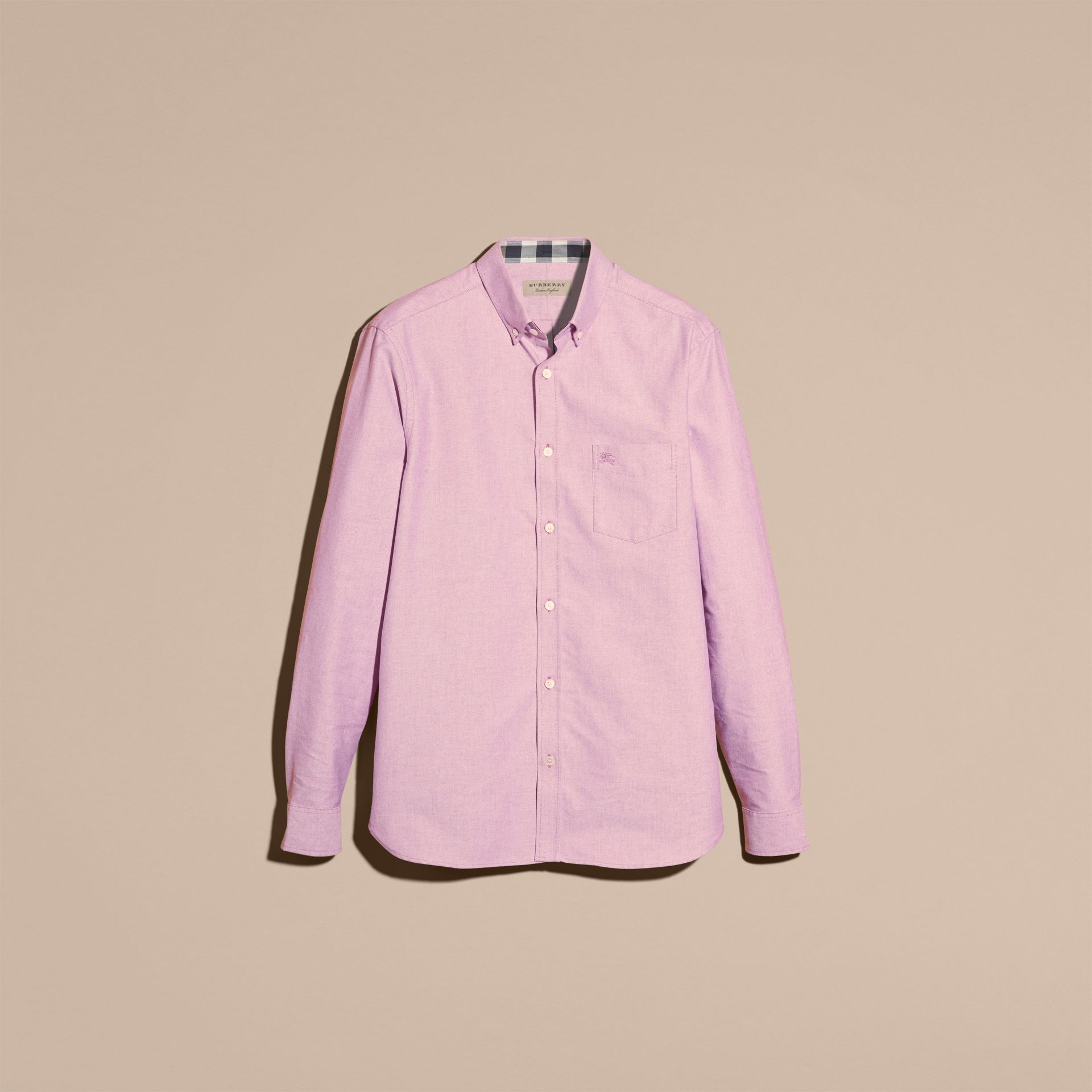 Check Detail Cotton Oxford Shirt in Bright Rose - Men | Burberry - gallery image 4