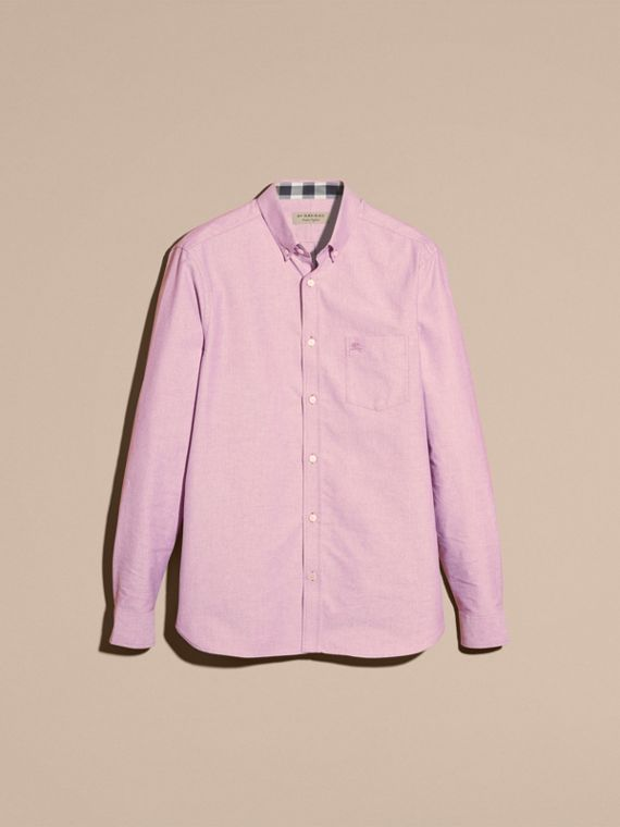 Check Detail Cotton Oxford Shirt in Bright Rose - Men | Burberry - cell image 3