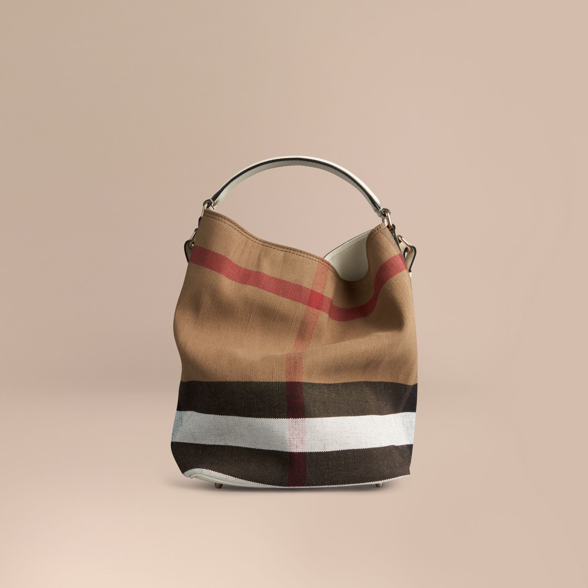 The Medium Ashby in Canvas Check and Leather - gallery image 4