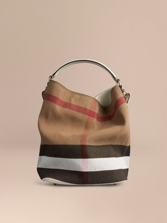 Blanco Bolso Ashby mediano en checks Canvas y piel Blanco - cell image 3